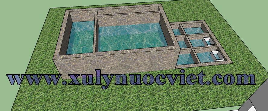 Mặt bằng xây dựng hệ thống xử lý nước thải sơ bộ