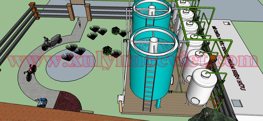 Hệ thống xử lý nước mô hình 3D (Hệ thống xử lý nước cấp cho cụm dân cư)