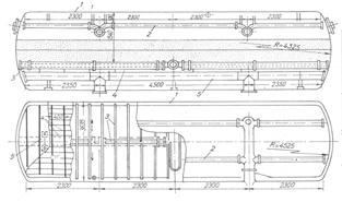 Hình giới thiệu mặt cắt ngang của bể lọc áp lực nằm ngang 1-thành bể; 2-ống châm lỗ phía trên phân phối nước vào bể và thu nước rửa lọc; 3-ống phân phối gió; 4-sàn rút nước có khe; 5-ống châm lỗ phía dưới rút nước trong và phân phối nước rửa lọc